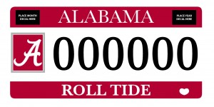 Picture of a licence plate with the box A and Roll Tide