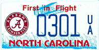 North Carolina Licence Plate with circle A on left