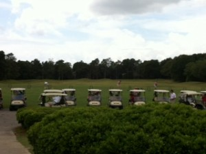 row of golf carts with green trees in background.