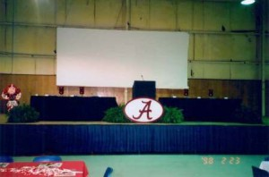 A panel area with podium, no people