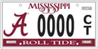Mississippi Licence Plate with big A on left