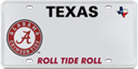 Texas Licence Plate with circle A on left