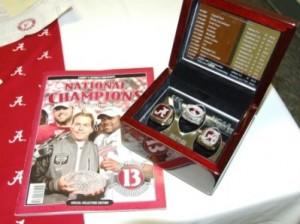 Alabama Magazine and box with Alabama rings.