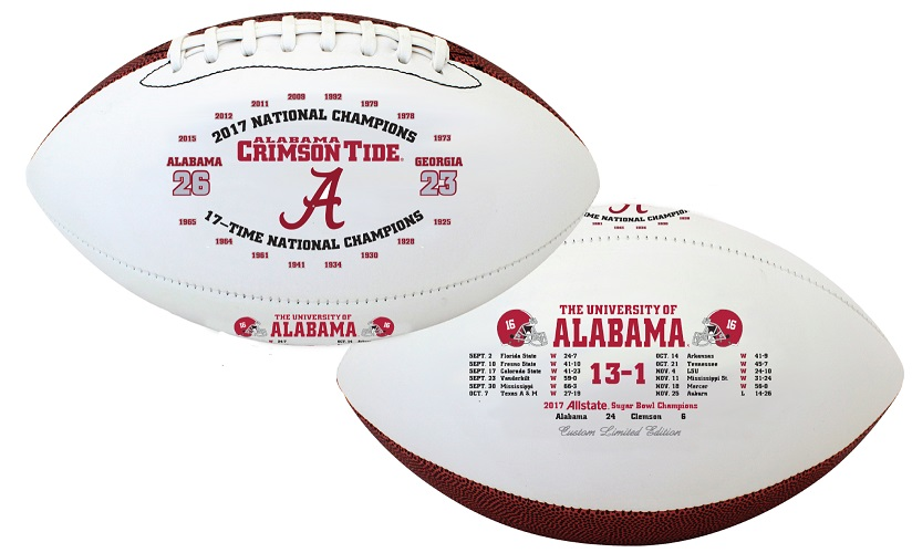 Item: Two footballs with 2017 season's information and UA logos on them