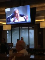 Coach Nick Saban on TV Screen.