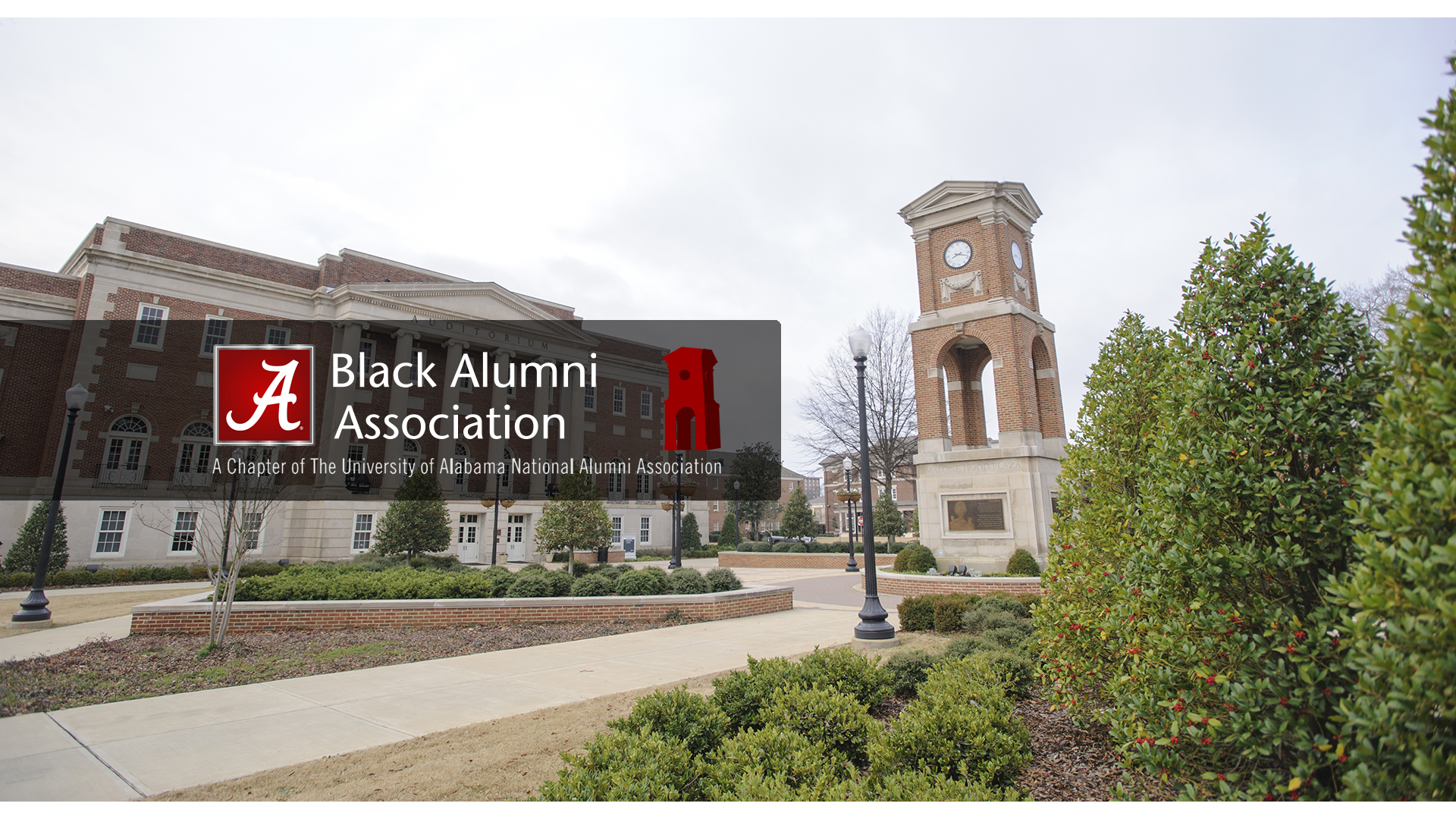 Black Alumni Association over a photo of Fosters Auditorium and Malone Hood Plaza