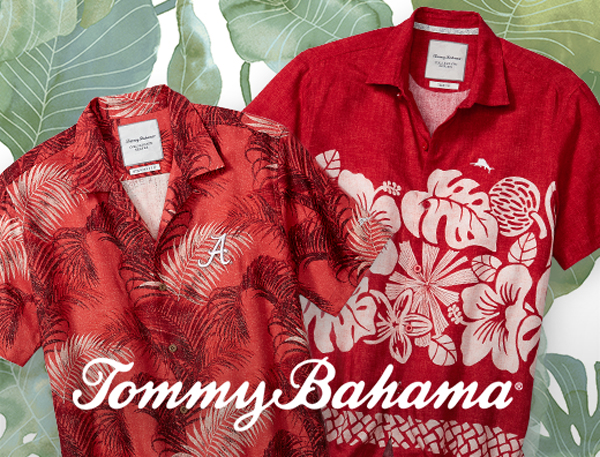 Item: Red and white Hawaiian shirts