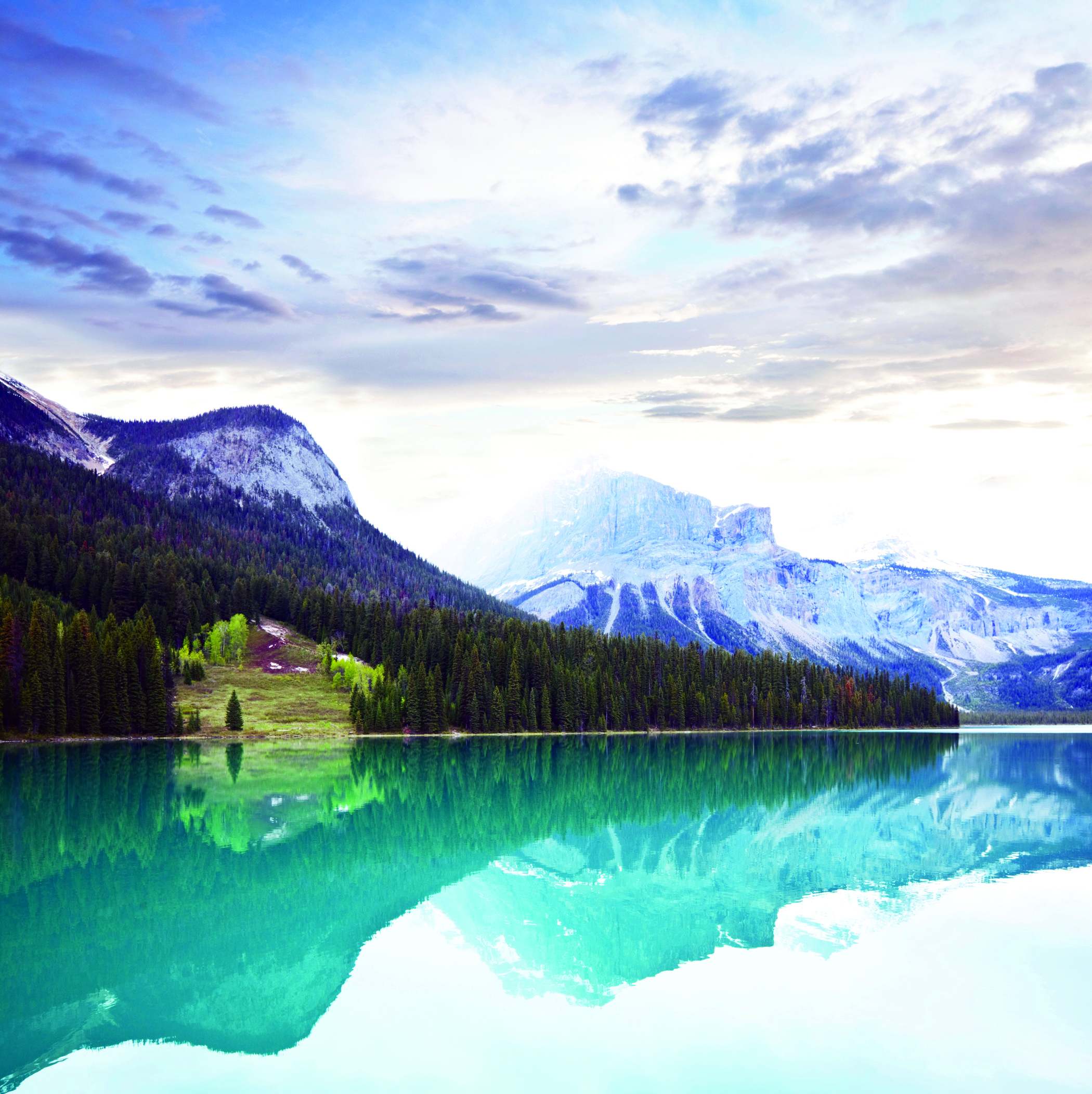 A view of the Canadian Rockies from across a lake