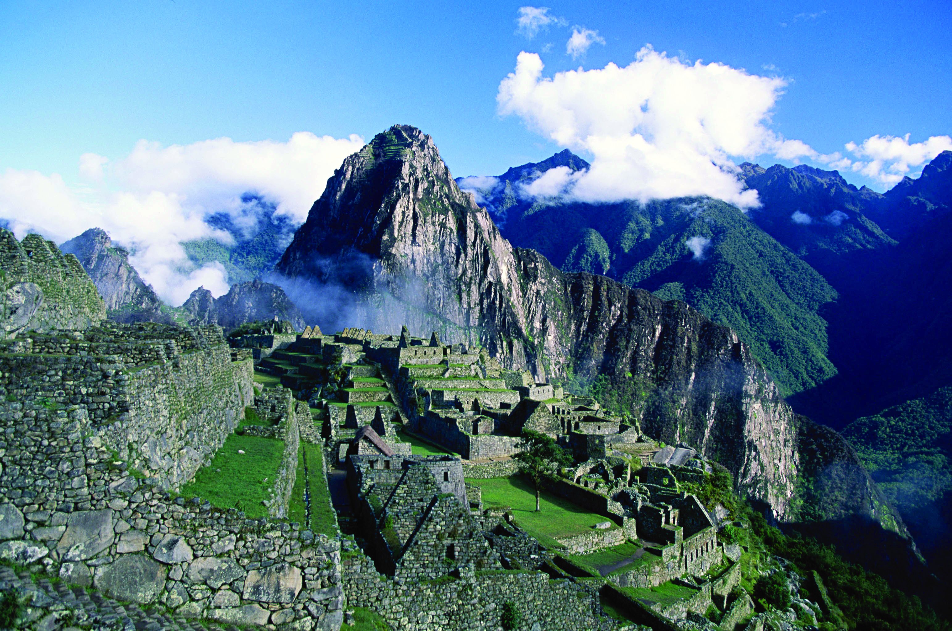 An aerial view of the ruins of macchu pichu