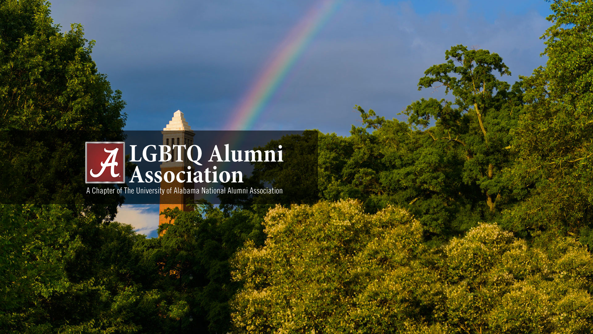 LGBTQ Alumni Association over a photo of a rainbow hitting Denny Chimes
