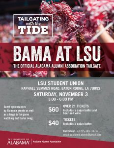 Bama at LSU print flyer- LSU Student Union, Nov 3, 3:00 pm