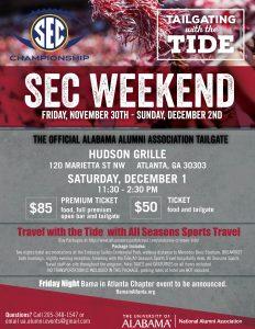 SEC Weekend print flyer- Hudson Grille, Dec 1, 11:30 am
