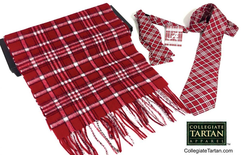 Item: A red and white tartan styled scarf