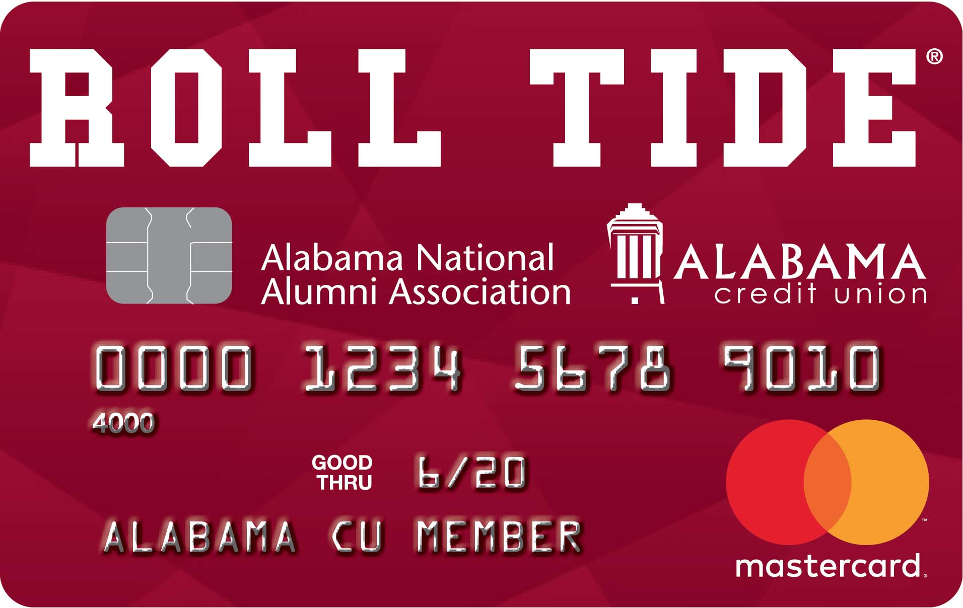 Item: A red credit card with Roll Tide in white above