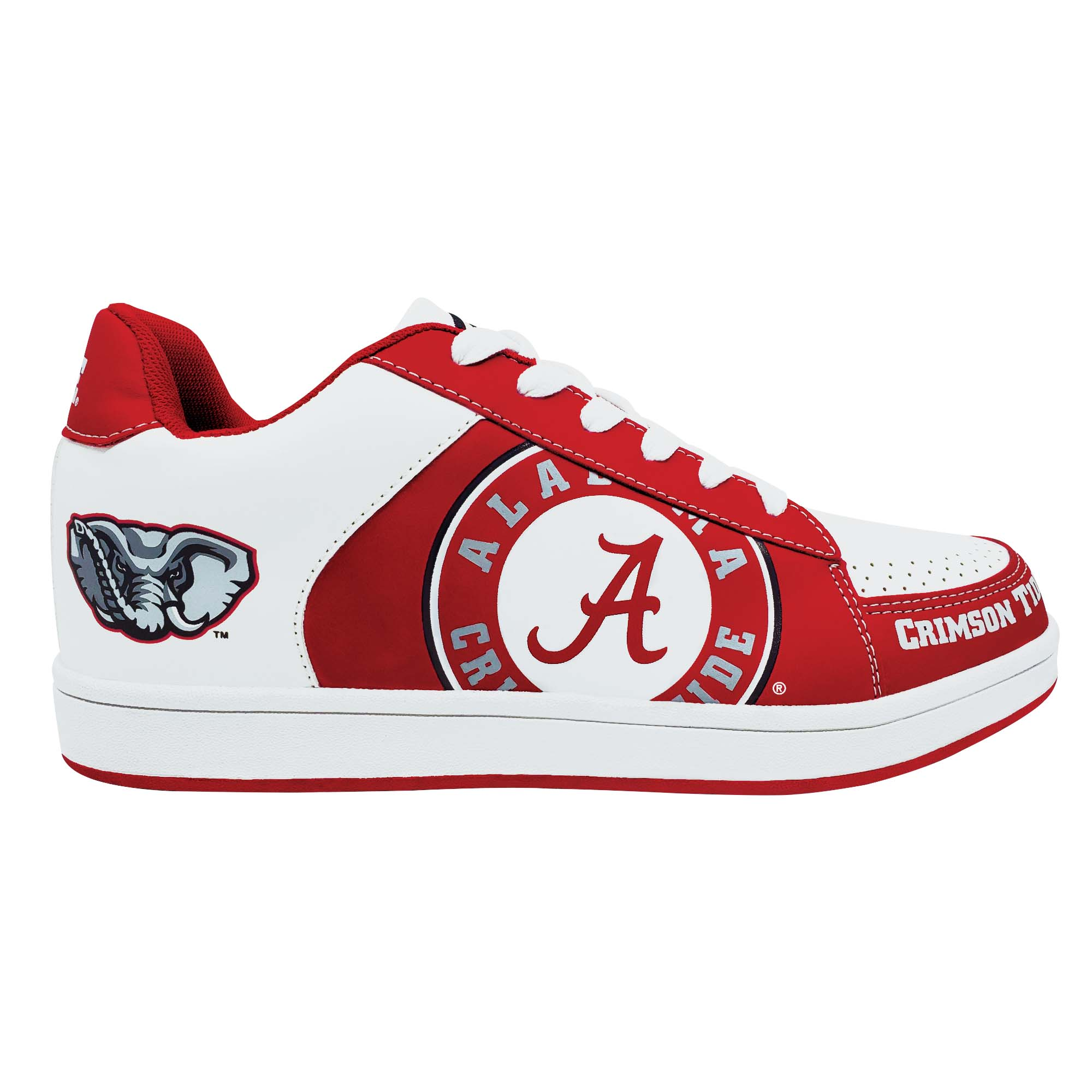 Item: A sneaker with a big al logo on the back and a circle A logo in front