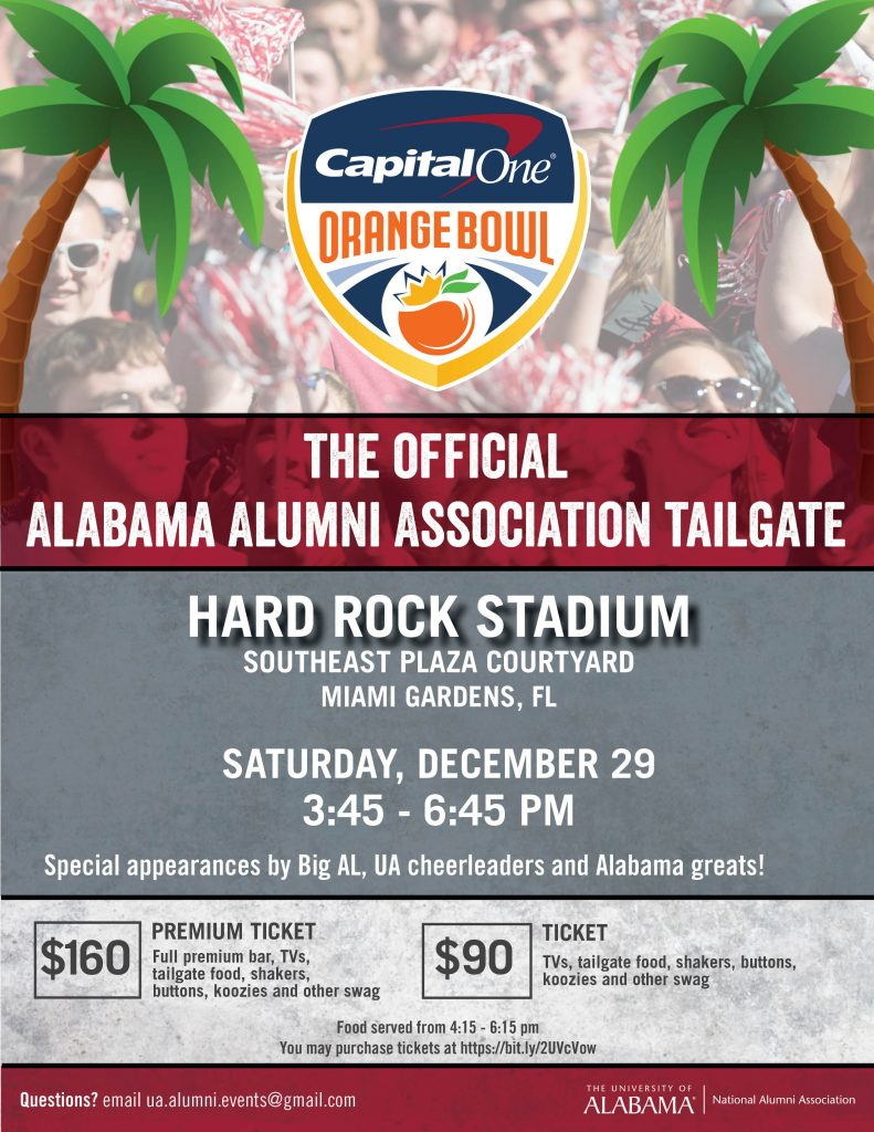 Alumni Tailgate print flyer - Hard Rock Stadium, Dec 29, 3:45 pm