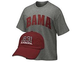 Item: Bama shirt and 1831 Alabama cap