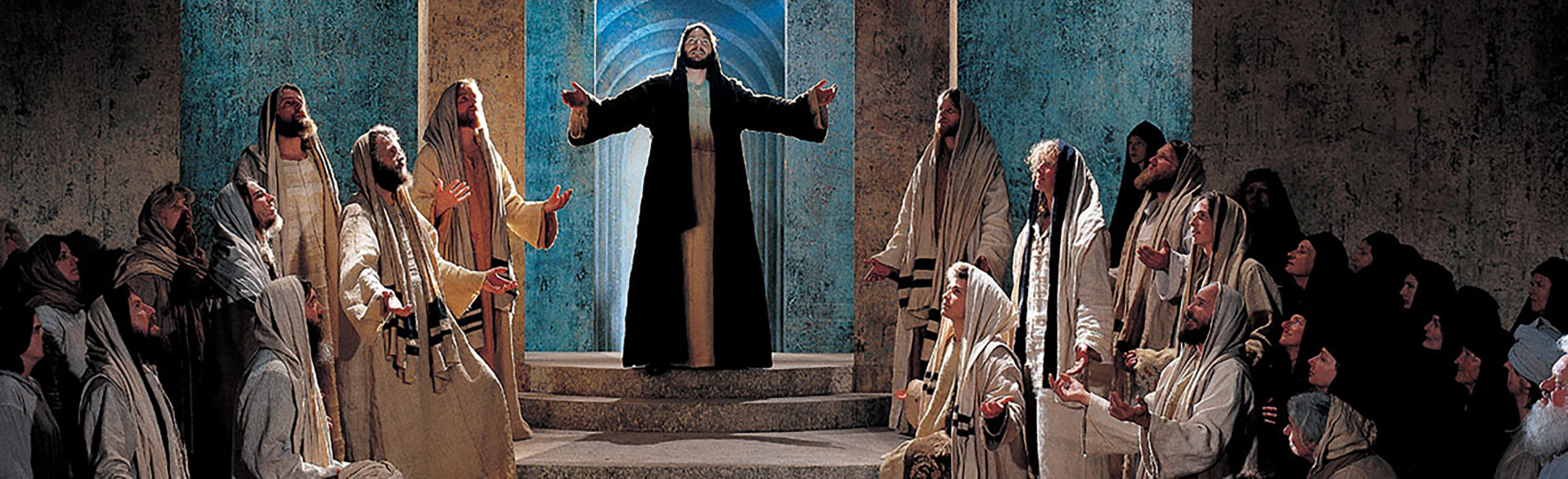 A theatrical reenactment of the passion of Christ as portrayed by talented actors.