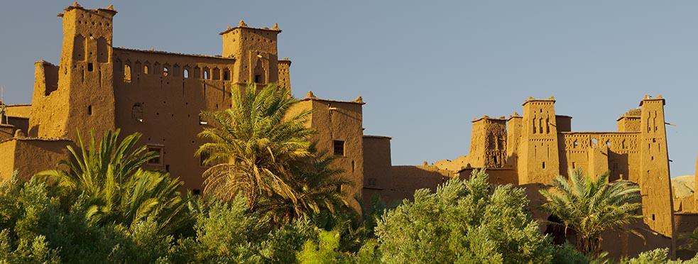 Historic Mosque sits above a tropical dessert range.